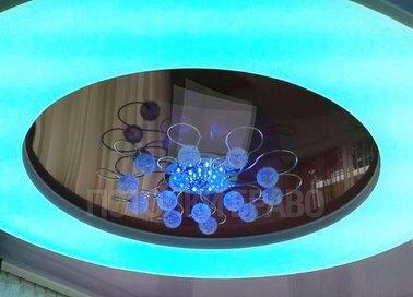 Круглый натяжной потолок с голубым освещением НП-829