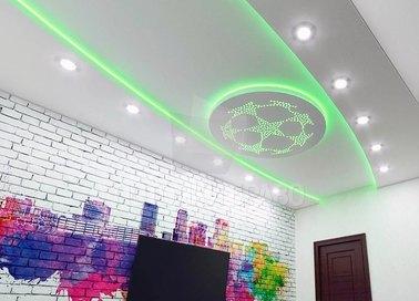 Сложный матовый натяжной потолок с рисунком из подсветки НП-831 - фото 3