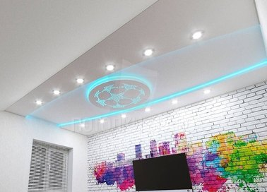 Сложный матовый натяжной потолок с рисунком из подсветки НП-831