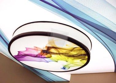 Сложный разноцветный натяжной потолок НП-836