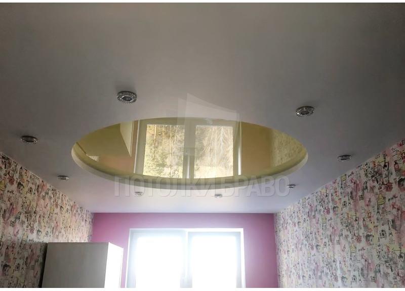 Бело-желтый натяжной потолок с круглой подсветкой НП-841 - фото 2