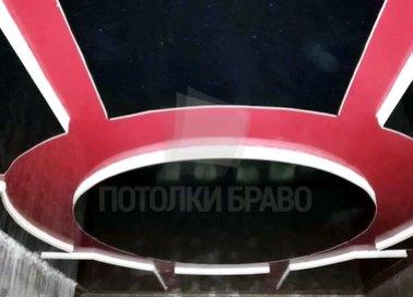 Красно-черный матовый натяжной потолок НП-849