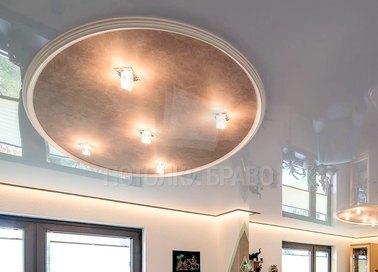 Матовый натяжной потолок с кожаной вставкой НП-851