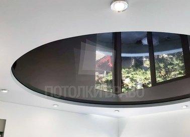 Круглый черно-белый натяжной потолок НП-854