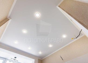 Сатиновый белый классический натяжной потолок НП-870