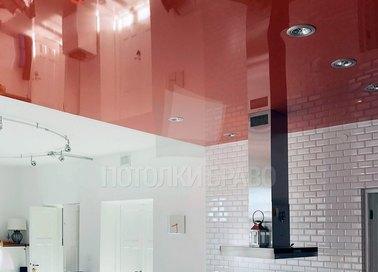 Глянцевый красный натяжной потолок для кухни НП-874