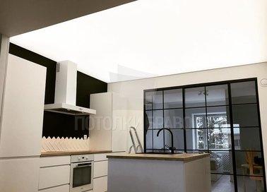 Бежевый матовый освещенный натяжной потолок НП-895
