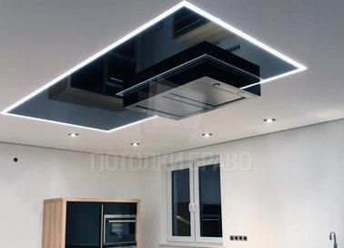 Сложный черно-белый натяжной потолок НП-898