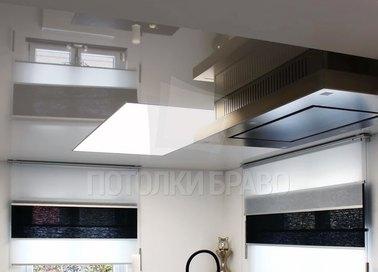 Серый глянцево-матовый натяжной потолок для кухни НП-901