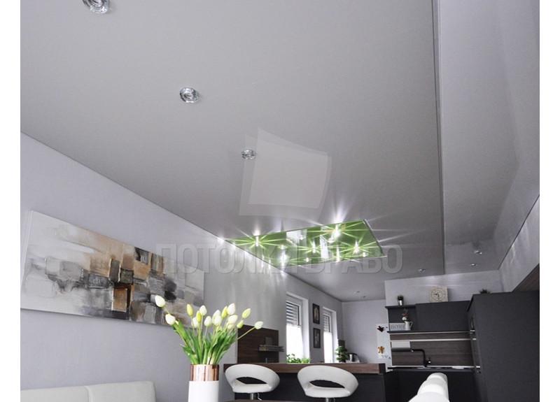 Сатиновый натяжной потолок с зеленой подсветкой НП-910 - фото 2
