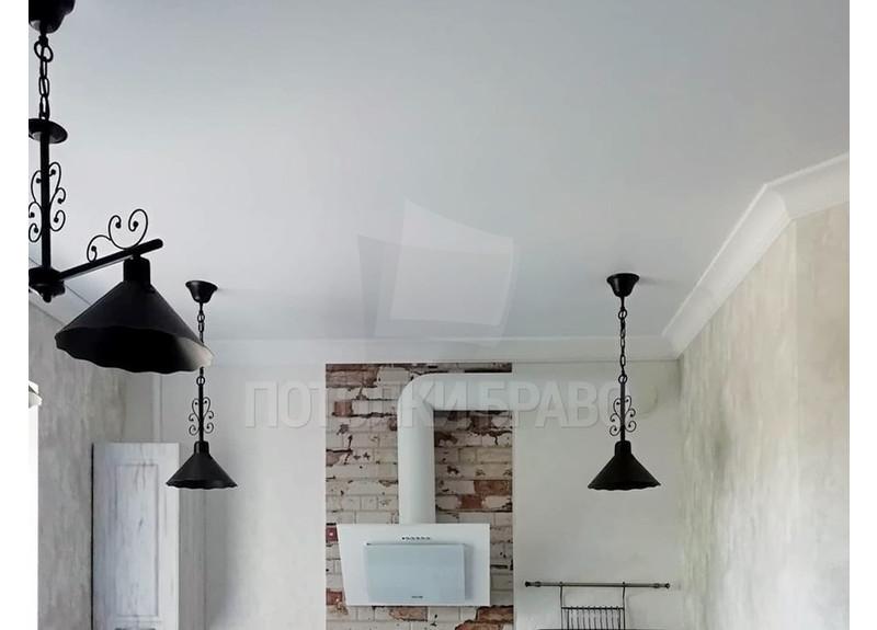 Матовый белый натяжной потолок для кухни НП-914