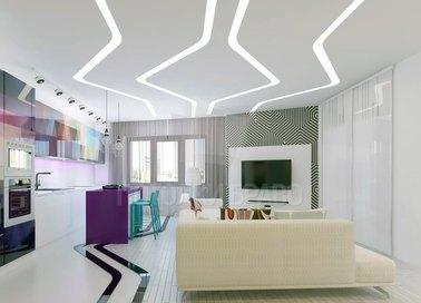 Матовый белый натяжной потолок в квартиру-студию НП-916