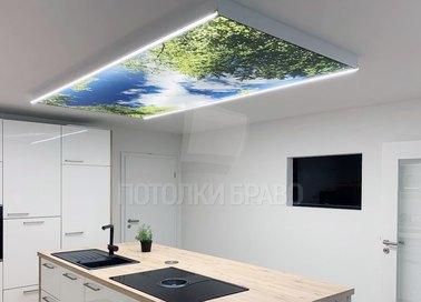 Матовый двухуровневый натяжной потолок для кухни НП-917