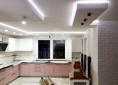 Белый матовый натяжной потолок в кухню в стиле Арт-деко НП-919