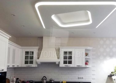 Матовый белый натяжной потолок для кухни НП-924