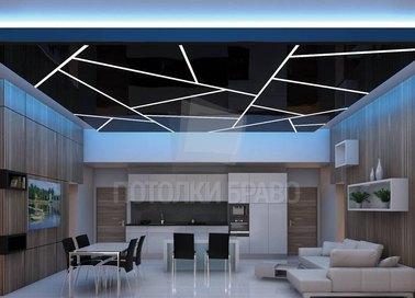 Сатиновый черный с белыми полосами натяжной потолок НП-933