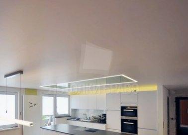Бежевый натяжной потолок с диодной лентой НП-939