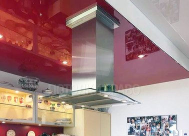 Парящий красный натяжной потолок для кухни НП-945
