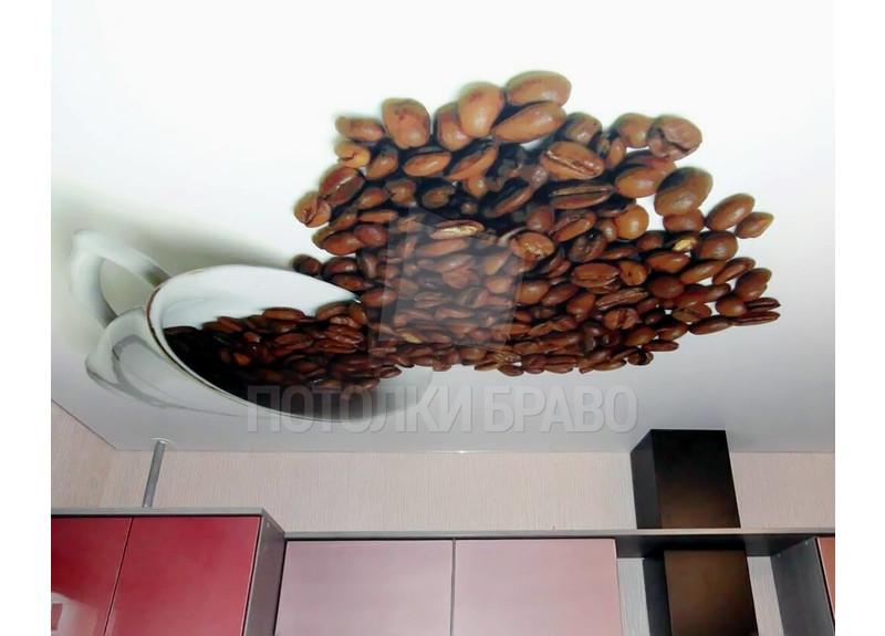 Матовый натяжной потолок с принтом кофе для кухни НП-948