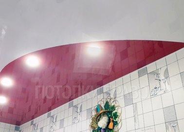 Глянцевый белый натяжной потолок с розовой подсветкой НП-953 - фото 3
