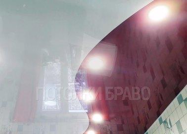 Глянцевый белый натяжной потолок с розовой подсветкой НП-953