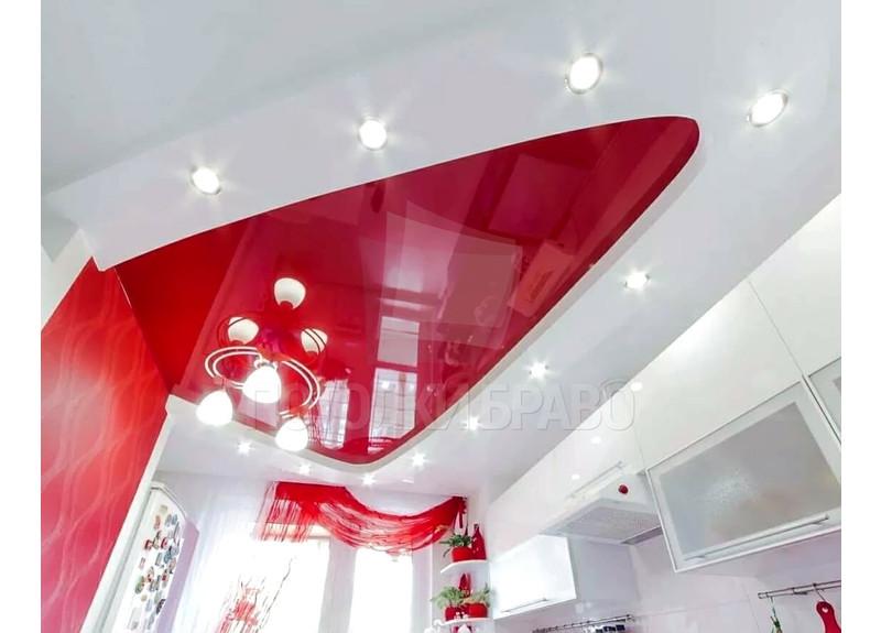 Матовый-глянцевый алый натяжной потолок для ванны НП-961