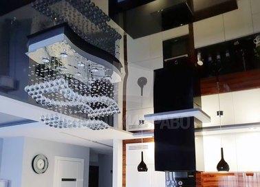 Двухцветный матово-глянцевый натяжной потолок для кухни НП-968 - фото 2