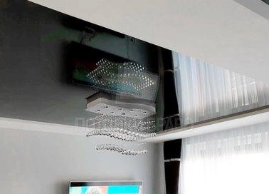 Двухцветный матово-глянцевый натяжной потолок для кухни НП-968 - фото 3