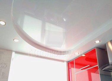Объемный матово-глянцевый натяжной потолок с подсветкой НП-971