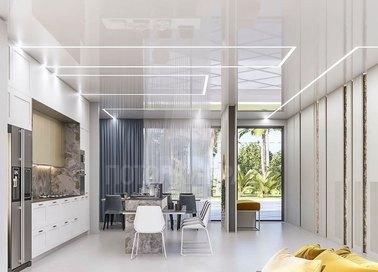 Белый глянцевый натяжной потолок с LED-подсветкой для кухни НП-975