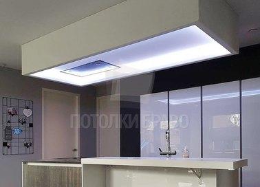 Двухуровневый матовый натяжной потолок с подсветкой НП-979