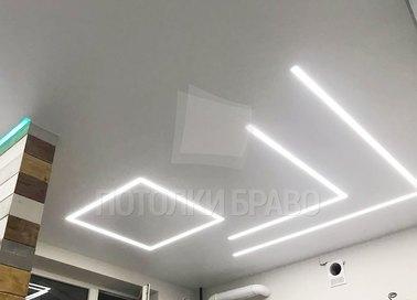 Белый матовый натяжной потолок для кухни НП-987