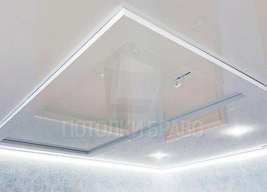 Двухуровневый белый глянцевый натяжной потолок НП-1004
