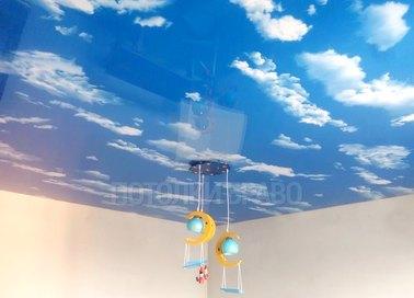 Небесный сатиновый натяжной потолок НП-1015