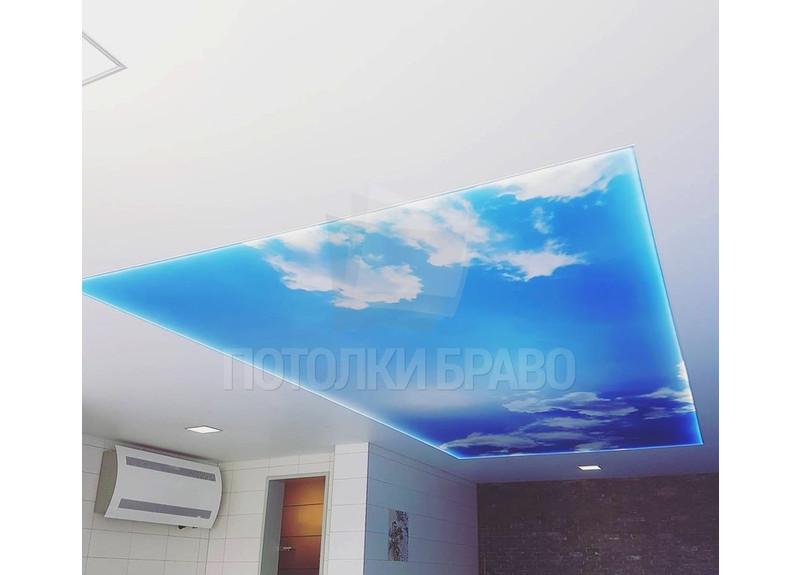 Двухуровневый натяжной потолок с изображением неба НП-1017
