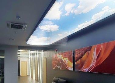 Двухуровневый матовый натяжной потолок с изображением неба НП-1021