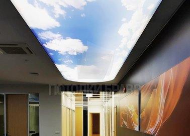 Двухуровневый матовый натяжной потолок с изображением неба НП-1021 - фото 2