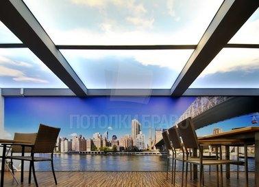 Сложный матовый голубой натяжной потолок НП-1025