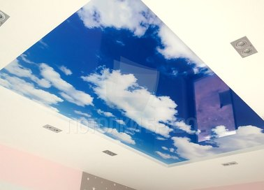 Двухуровневый матовый небесный натяжной потолок НП-1028 - фото 2