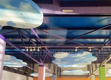 Синий матовый натяжной потолок для общественного помещения НП-1034