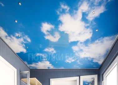 Сатиновый небесный натяжной потолок со светильниками НП-1039