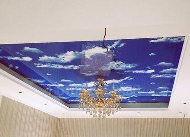 Матовый небесно-синий натяжной потолок НП-1041