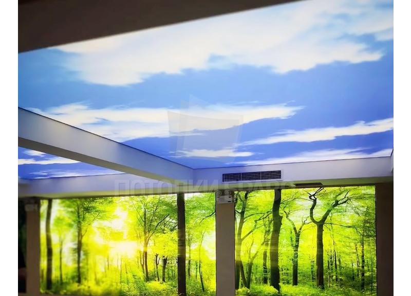Сложный матовый небесный натяжной потолок НП-1042