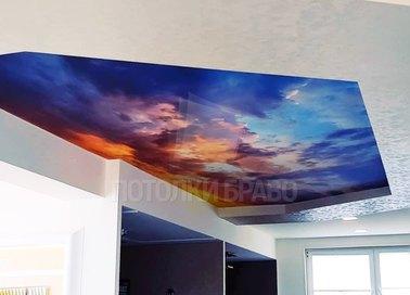 Мраморный натяжной потолок с изображением НП-1047