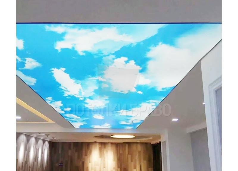 Матовый белый натяжной потолок с небесным изображением НП-1049