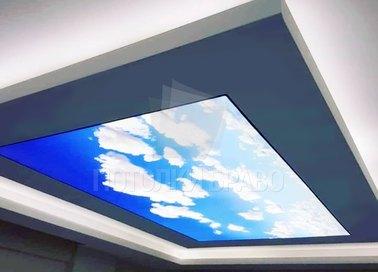 Матовый с изображением неба в офис натяжной потолок НП-1058