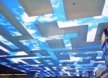 Матовый с узором неба натяжной потолок НП-1061