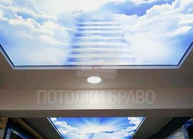 Матовый натяжной потолок с лестницей в небо НП-1081