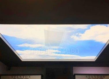 Матовый небесный натяжной потолок для ресторана НП-1091