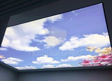 Голубой натяжной потолок в японском стиле НП-1098